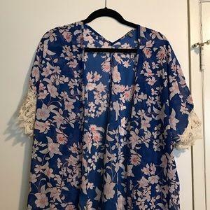 Blue floral kimono